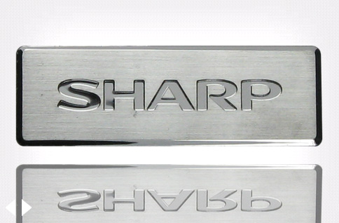 Sharp Metal Chrome Name Plate In Silver